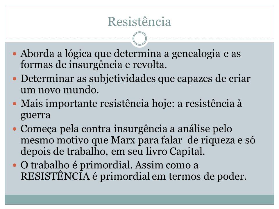 Resistência Aborda a lógica que determina a genealogia e as formas de insurgência e revolta. Determinar as subjetividades que capazes de criar um novo