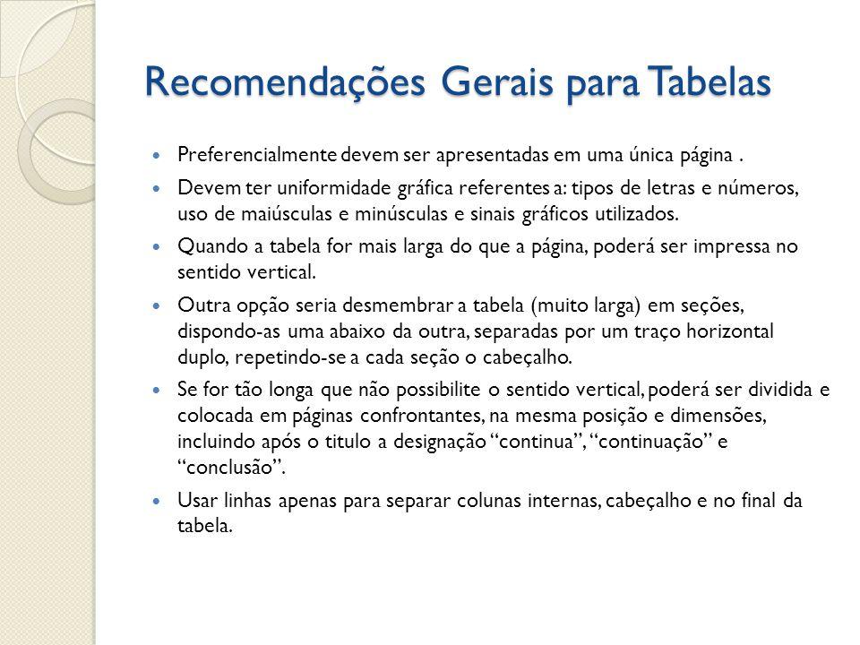 Recomendações Gerais para Tabelas Preferencialmente devem ser apresentadas em uma única página. Devem ter uniformidade gráfica referentes a: tipos de