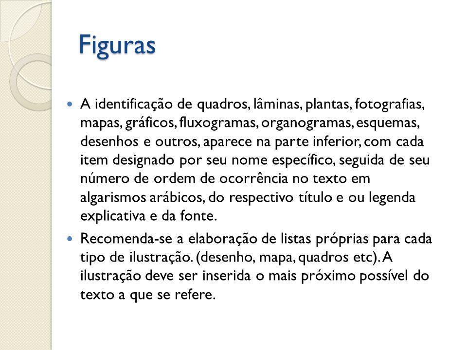 Figuras A identificação de quadros, lâminas, plantas, fotografias, mapas, gráficos, fluxogramas, organogramas, esquemas, desenhos e outros, aparece na