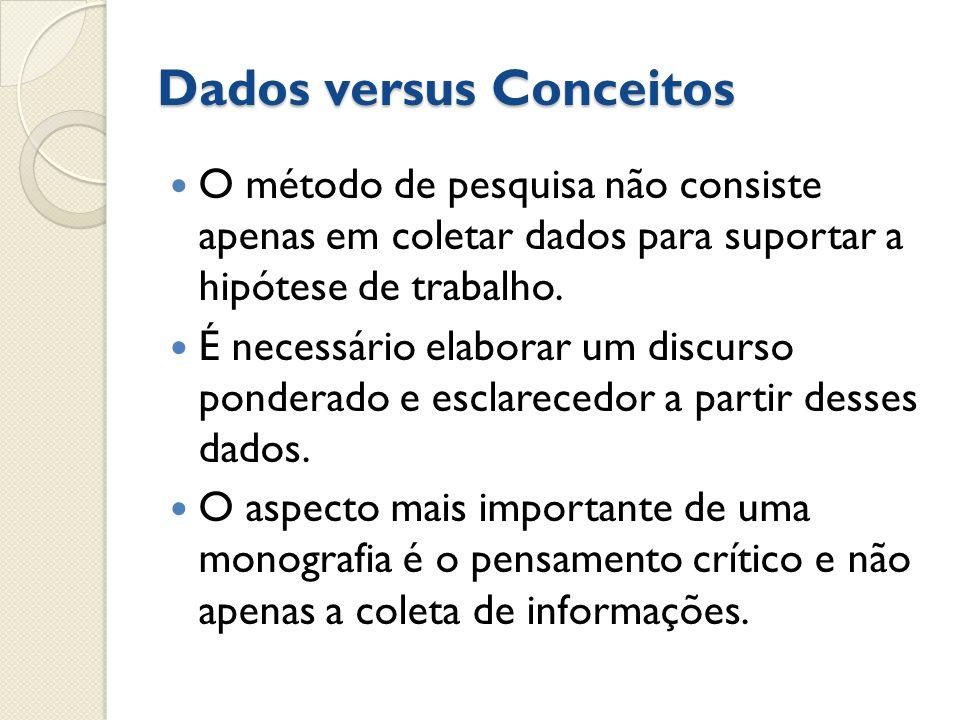 Dados versus Conceitos O método de pesquisa não consiste apenas em coletar dados para suportar a hipótese de trabalho. É necessário elaborar um discur