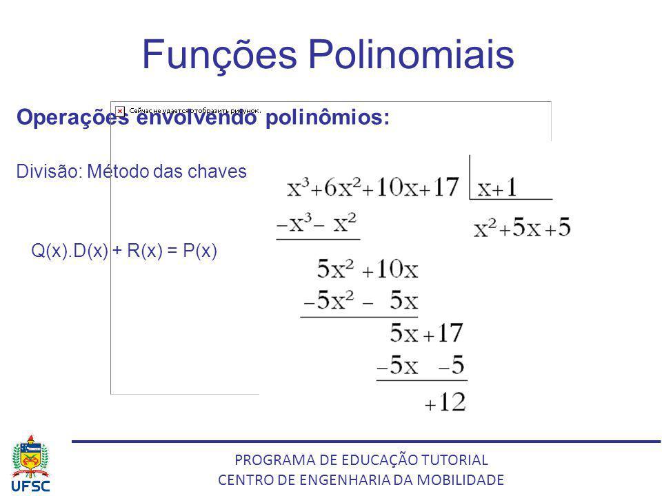 PROGRAMA DE EDUCAÇÃO TUTORIAL CENTRO DE ENGENHARIA DA MOBILIDADE Funções Polinomiais Operações envolvendo polinômios: Divisão: Método das chaves Q(x).
