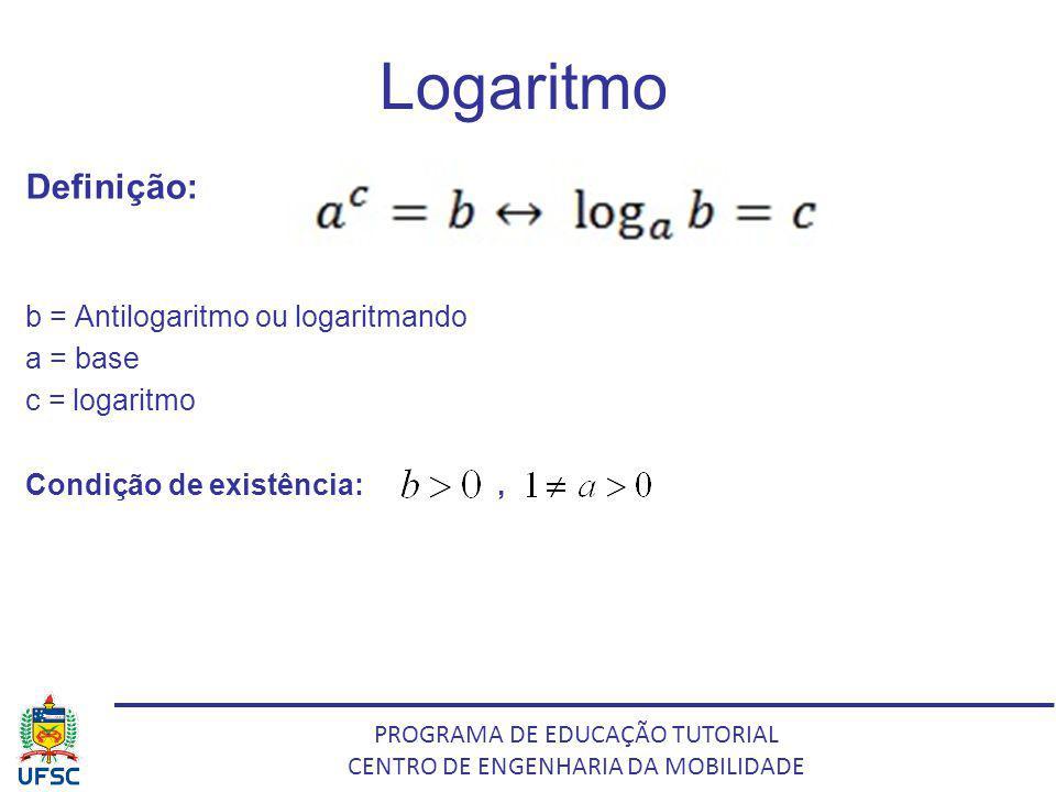 PROGRAMA DE EDUCAÇÃO TUTORIAL CENTRO DE ENGENHARIA DA MOBILIDADE Logaritmo Definição: b = Antilogaritmo ou logaritmando a = base c = logaritmo Condiçã