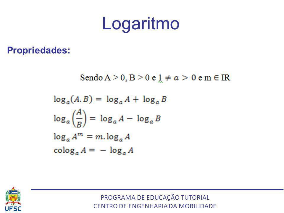 PROGRAMA DE EDUCAÇÃO TUTORIAL CENTRO DE ENGENHARIA DA MOBILIDADE Logaritmo Propriedades: