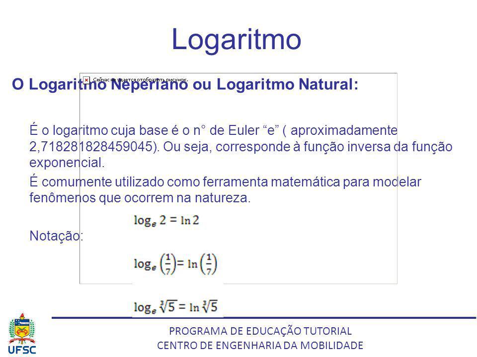 PROGRAMA DE EDUCAÇÃO TUTORIAL CENTRO DE ENGENHARIA DA MOBILIDADE Logaritmo O Logaritmo Neperiano ou Logaritmo Natural: É o logaritmo cuja base é o n°