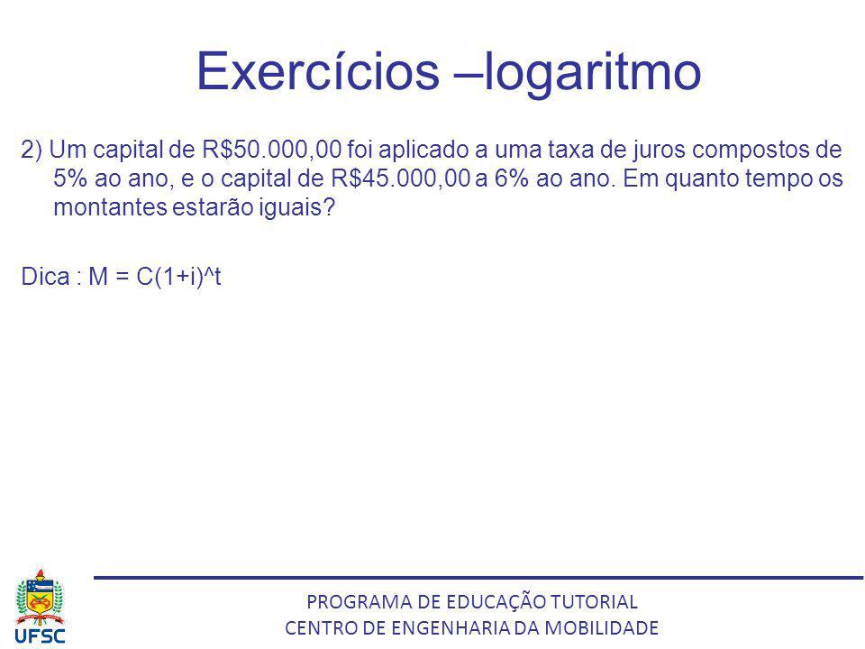 PROGRAMA DE EDUCAÇÃO TUTORIAL CENTRO DE ENGENHARIA DA MOBILIDADE Exercícios –logaritmo 2) Um capital de R$50.000,00 foi aplicado a uma taxa de juros c