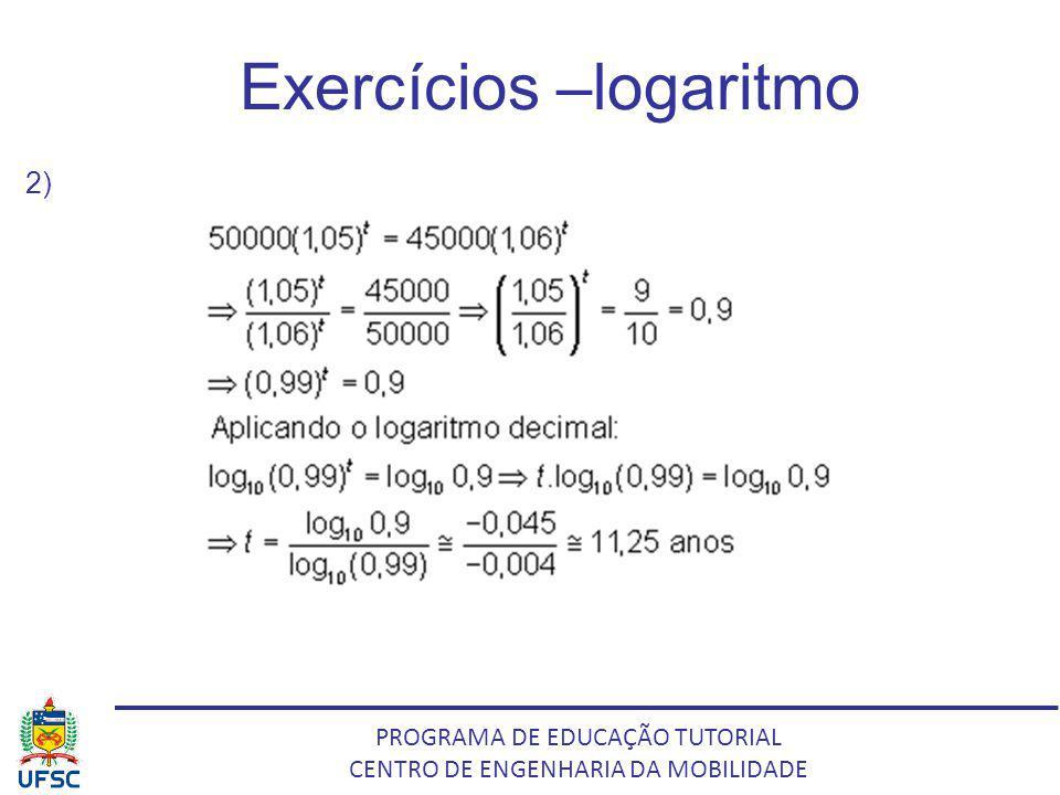 PROGRAMA DE EDUCAÇÃO TUTORIAL CENTRO DE ENGENHARIA DA MOBILIDADE Exercícios –logaritmo 2)