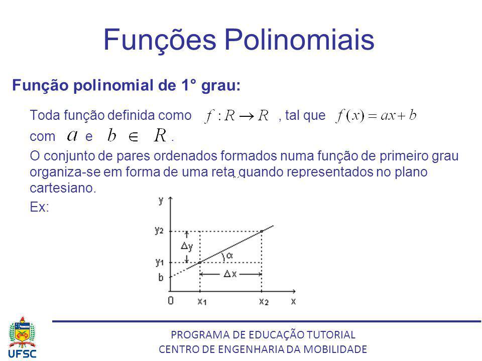 PROGRAMA DE EDUCAÇÃO TUTORIAL CENTRO DE ENGENHARIA DA MOBILIDADE Funções Polinomiais Função polinomial de 1° grau: Toda função definida como, tal que