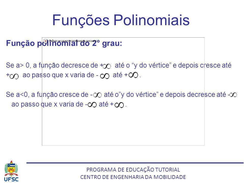 PROGRAMA DE EDUCAÇÃO TUTORIAL CENTRO DE ENGENHARIA DA MOBILIDADE Funções Polinomiais Função polinomial do 2° grau: Se a> 0, a função decresce de + até