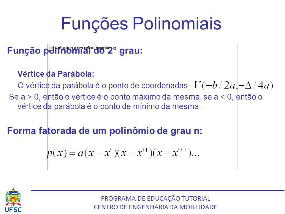 PROGRAMA DE EDUCAÇÃO TUTORIAL CENTRO DE ENGENHARIA DA MOBILIDADE Funções Polinomiais Função polinomial do 2° grau: Vértice da Parábola: O vértice da p
