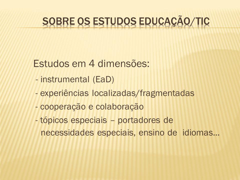 Estudos em 4 dimensões: - instrumental (EaD) - experiências localizadas/fragmentadas - cooperação e colaboração - tópicos especiais – portadores de ne