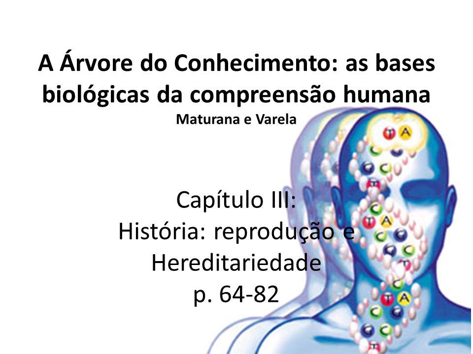 A Árvore do Conhecimento: as bases biológicas da compreensão humana Maturana e Varela Capítulo III: História: reprodução e Hereditariedade p. 64-82