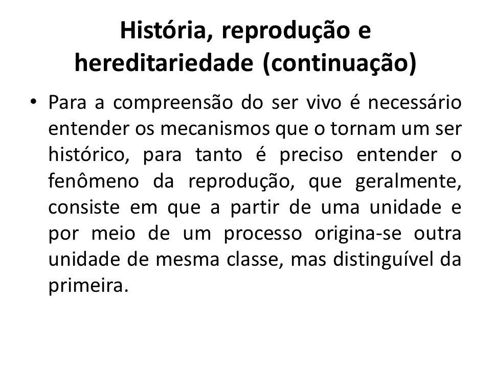 História, reprodução e hereditariedade (continuação) Para a compreensão do ser vivo é necessário entender os mecanismos que o tornam um ser histórico,