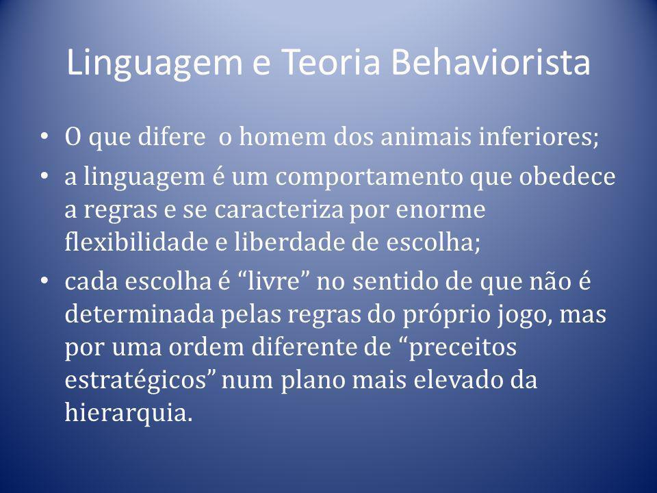 Linguagem e Teoria Behaviorista O que difere o homem dos animais inferiores; a linguagem é um comportamento que obedece a regras e se caracteriza por