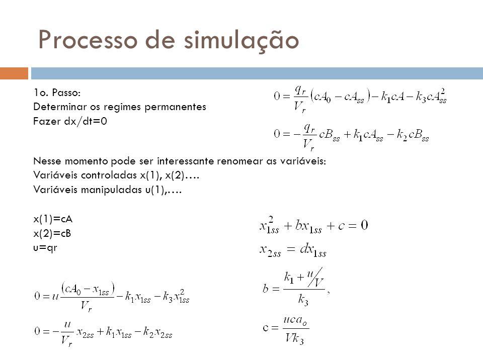Processo de simulação 1o. Passo: Determinar os regimes permanentes Fazer dx/dt=0 Nesse momento pode ser interessante renomear as variáveis: Variáveis