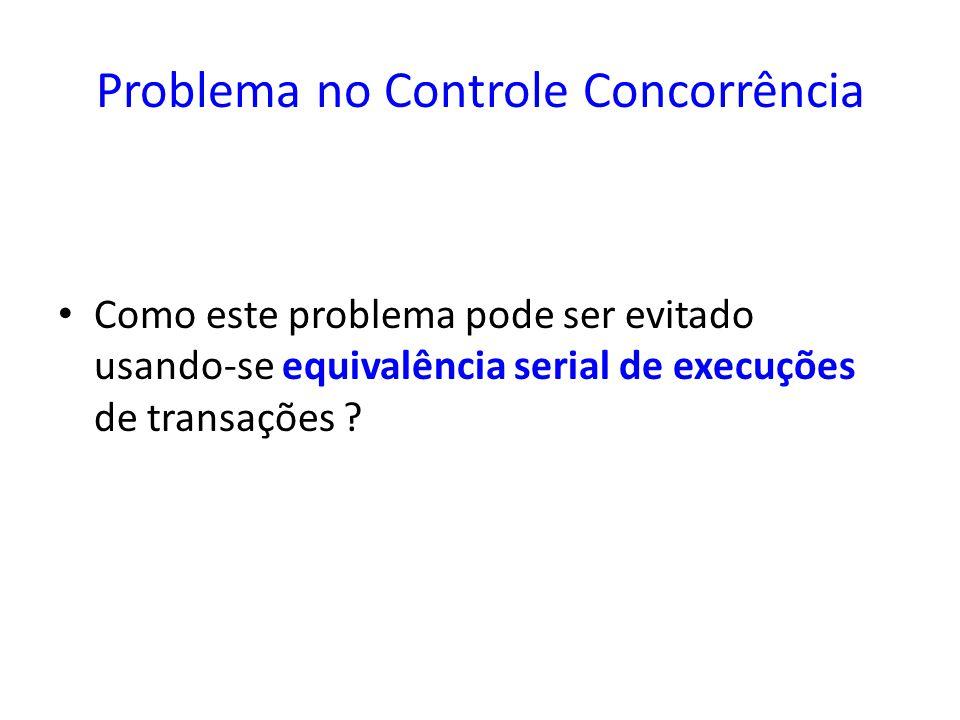 Problema no Controle Concorrência Como este problema pode ser evitado usando-se equivalência serial de execuções de transações ?