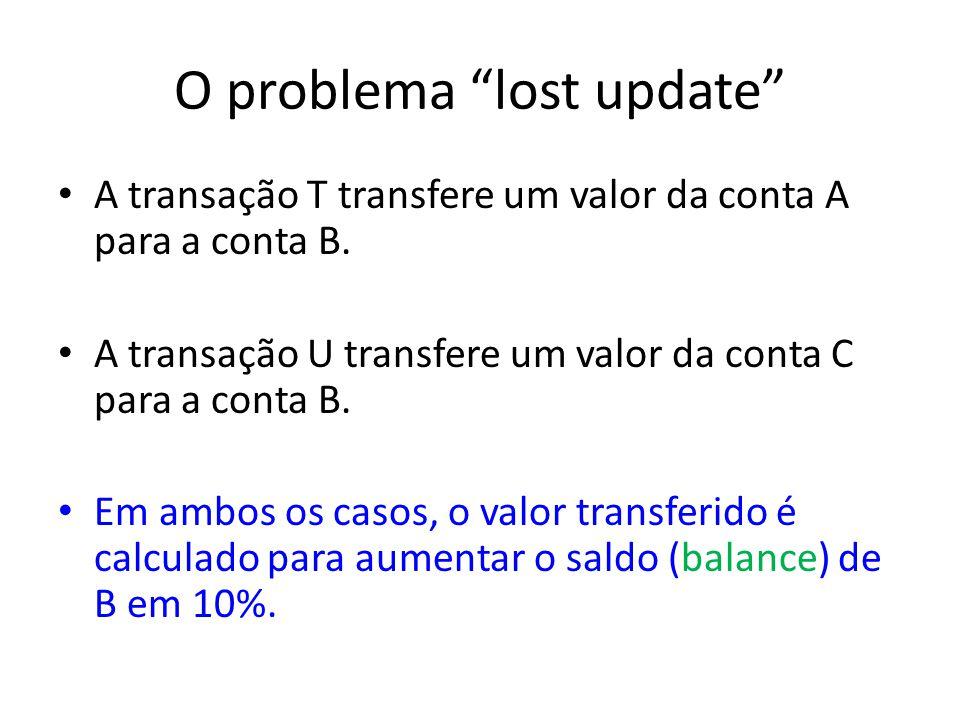 O problema lost update A transação T transfere um valor da conta A para a conta B.