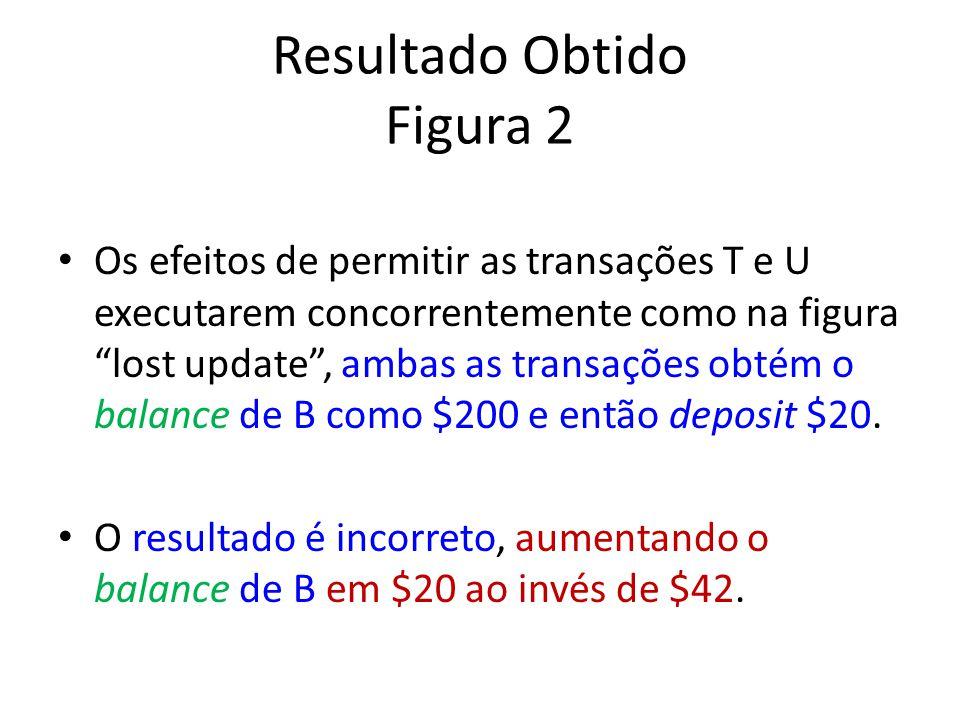 Resultado Obtido Figura 2 Os efeitos de permitir as transações T e U executarem concorrentemente como na figura lost update, ambas as transações obtém o balance de B como $200 e então deposit $20.
