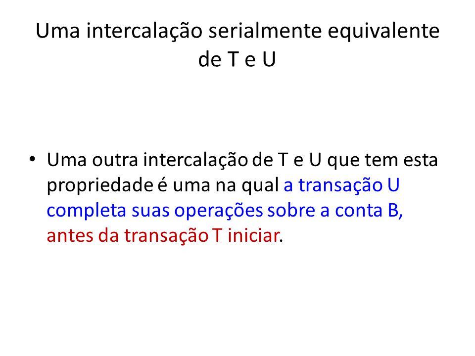 Uma intercalação serialmente equivalente de T e U Uma outra intercalação de T e U que tem esta propriedade é uma na qual a transação U completa suas operações sobre a conta B, antes da transação T iniciar.