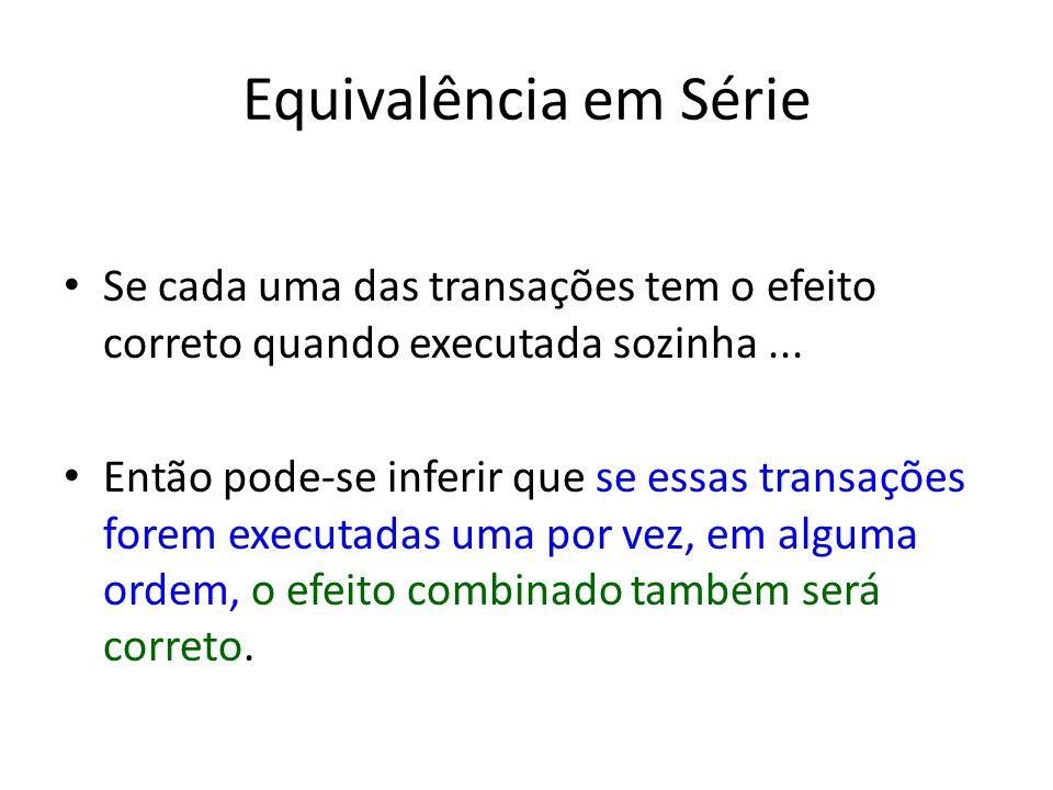 Equivalência em Série Se cada uma das transações tem o efeito correto quando executada sozinha...