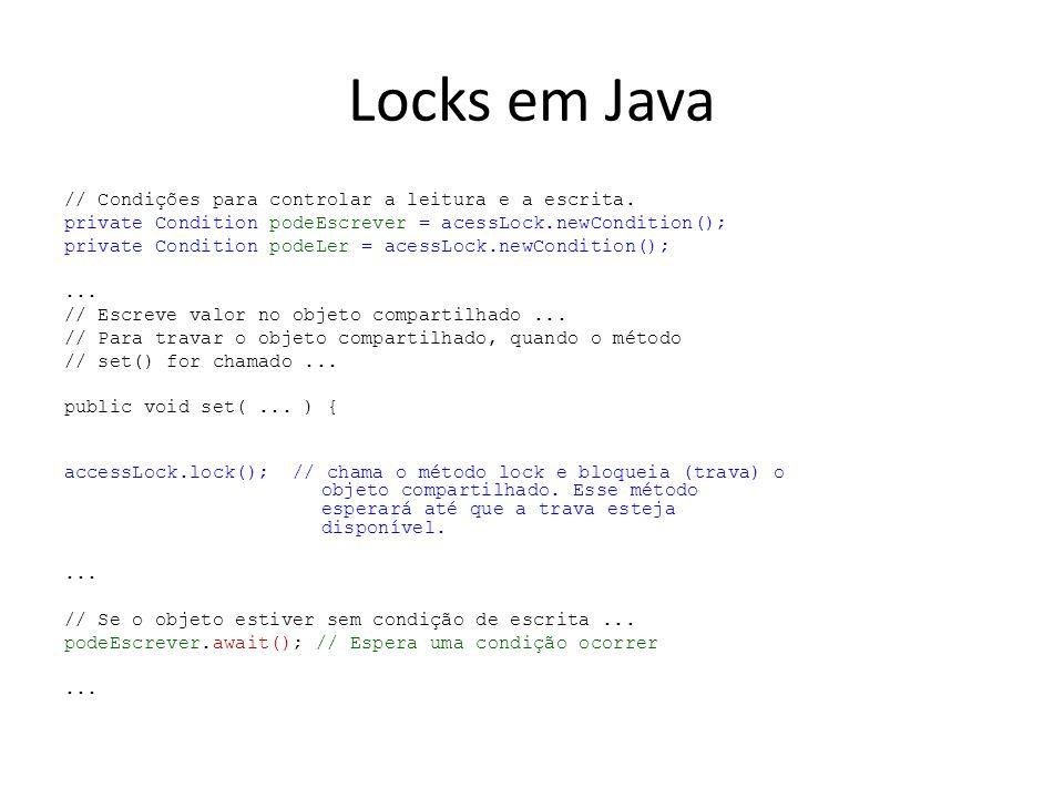 Locks em Java // Condições para controlar a leitura e a escrita.