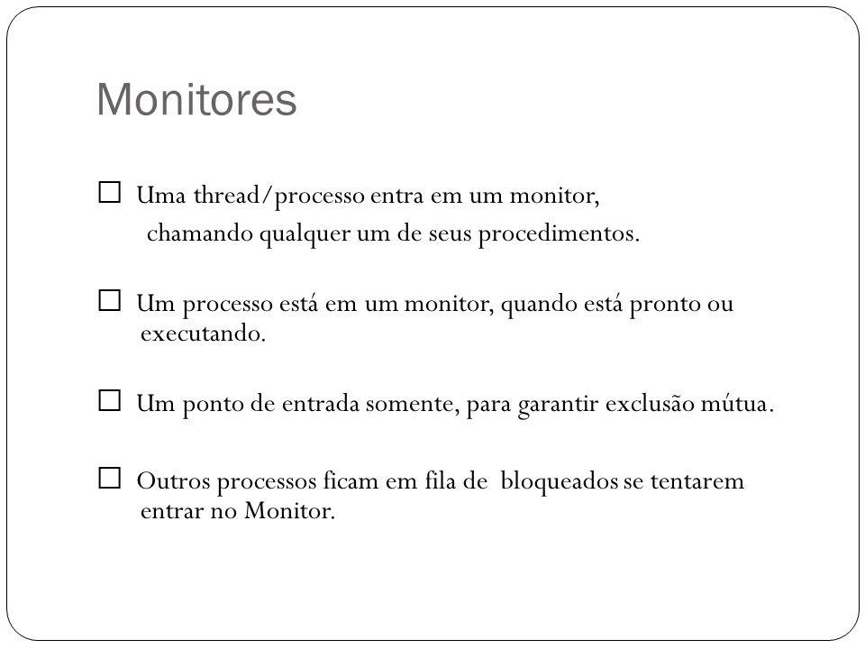Monitores Uma thread/processo entra em um monitor, chamando qualquer um de seus procedimentos. Um processo está em um monitor, quando está pronto ou e