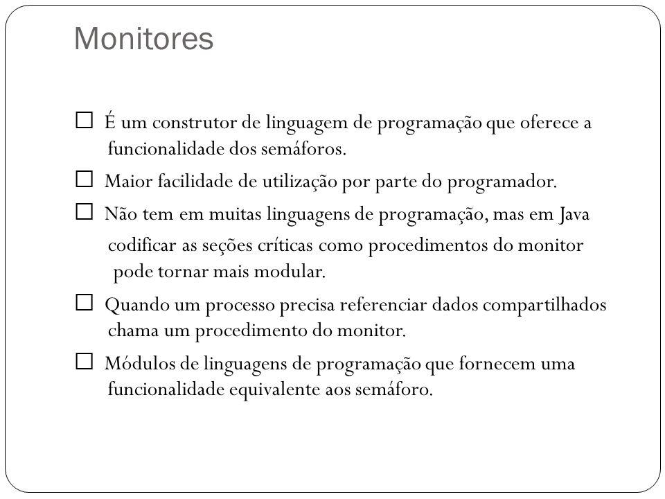 Monitores O monitor é um conjunto de procedimentos, variáveis e inicialização definidos dentro de um módulo um processo entra no monitor, chamando um dos seus procedimentos.