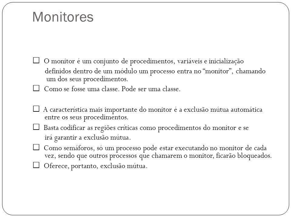 Monitores O monitor é um conjunto de procedimentos, variáveis e inicialização definidos dentro de um módulo um processo entra no monitor, chamando um
