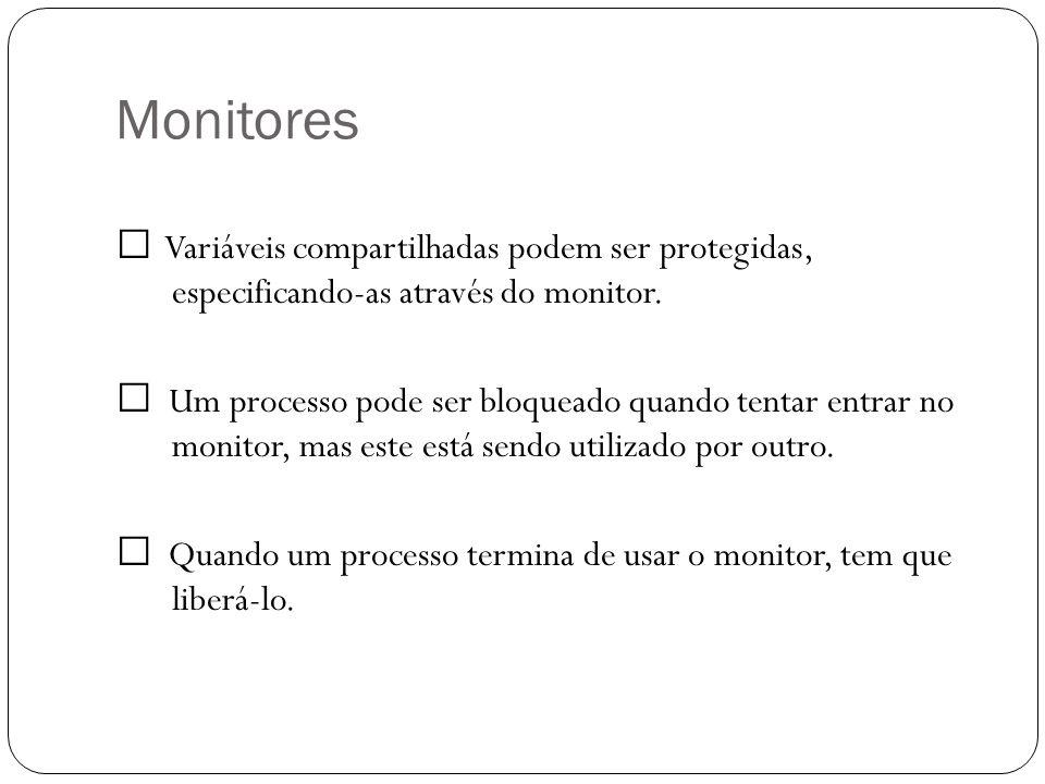 Monitores Variáveis compartilhadas podem ser protegidas, especificando-as através do monitor. Um processo pode ser bloqueado quando tentar entrar no m