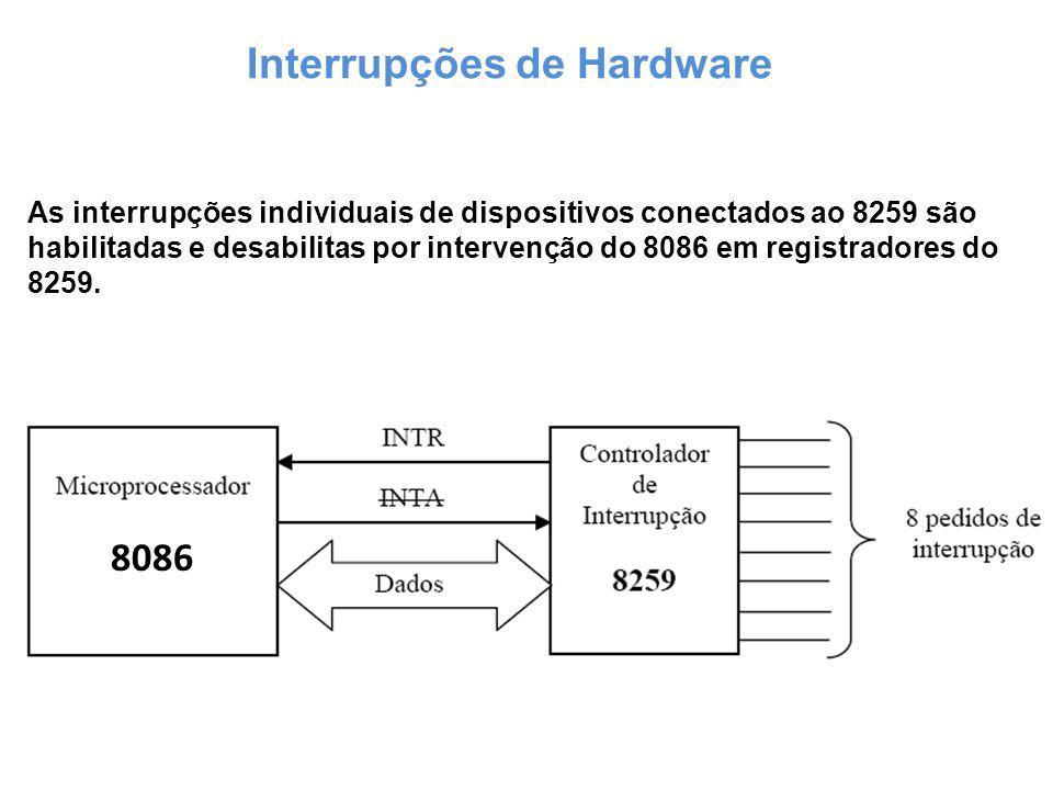 8086 Interrupções de Hardware As interrupções individuais de dispositivos conectados ao 8259 são habilitadas e desabilitas por intervenção do 8086 em
