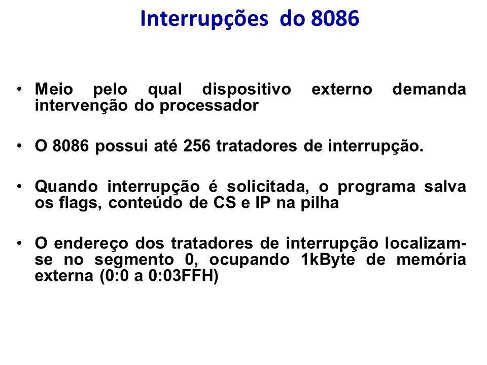 Interrupções do 8086 Meio pelo qual dispositivo externo demanda intervenção do processador O 8086 possui até 256 tratadores de interrupção. Quando int