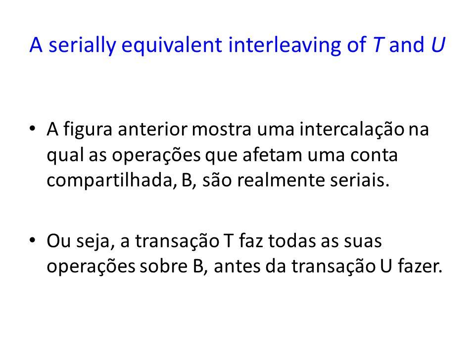 A serially equivalent interleaving of T and U A figura anterior mostra uma intercalação na qual as operações que afetam uma conta compartilhada, B, são realmente seriais.