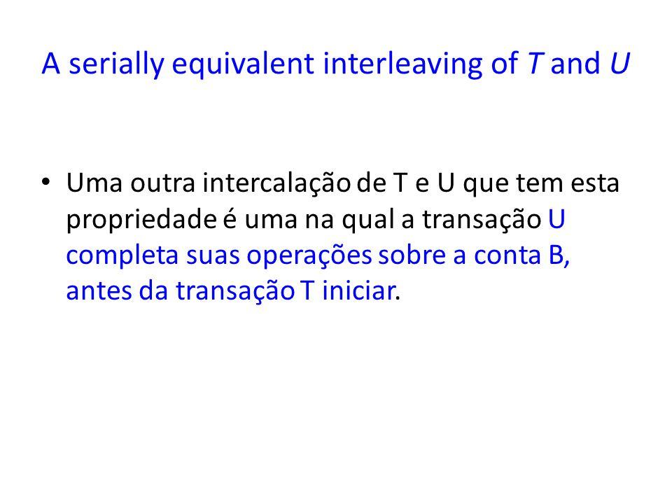 A serially equivalent interleaving of T and U Uma outra intercalação de T e U que tem esta propriedade é uma na qual a transação U completa suas operações sobre a conta B, antes da transação T iniciar.