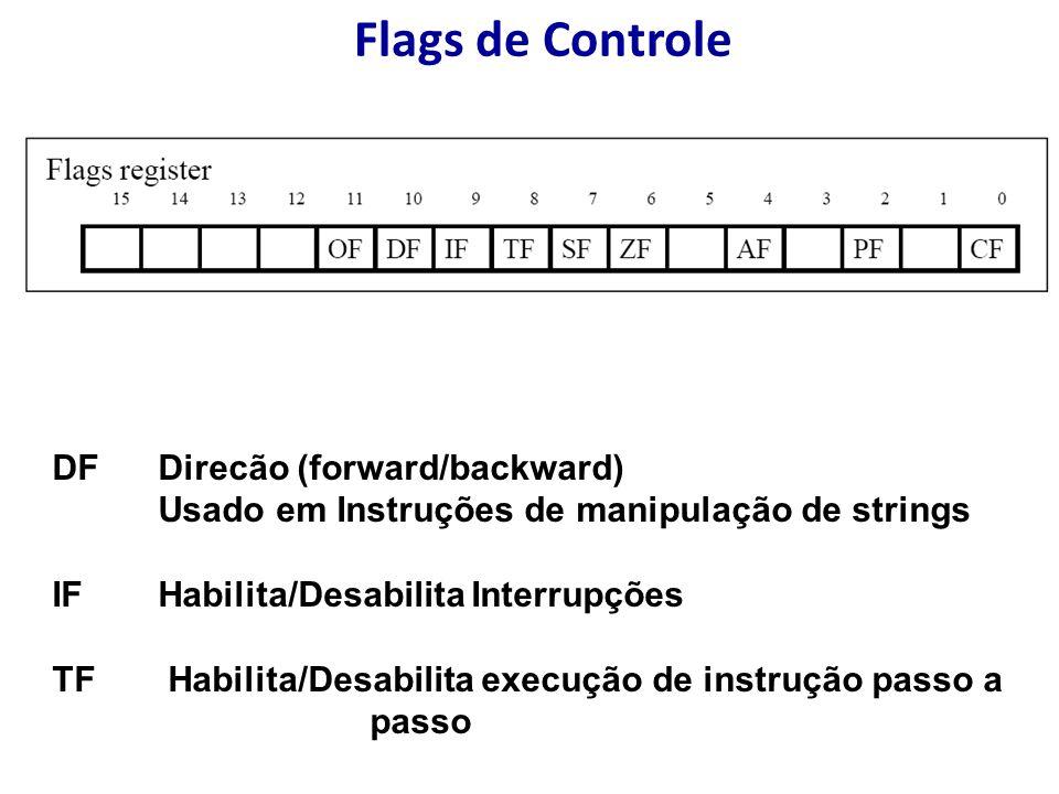 Flags de Controle DF Direcão (forward/backward) Usado em Instruções de manipulação de strings IF Habilita/Desabilita Interrupções TF Habilita/Desabilita execução de instrução passo a passo