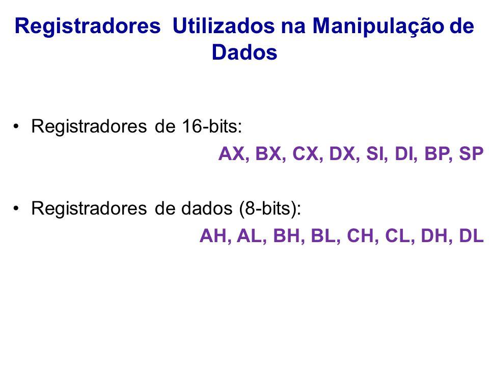 Registradores Utilizados na Manipulação de Dados Registradores de 16-bits: AX, BX, CX, DX, SI, DI, BP, SP Registradores de dados (8-bits): AH, AL, BH, BL, CH, CL, DH, DL