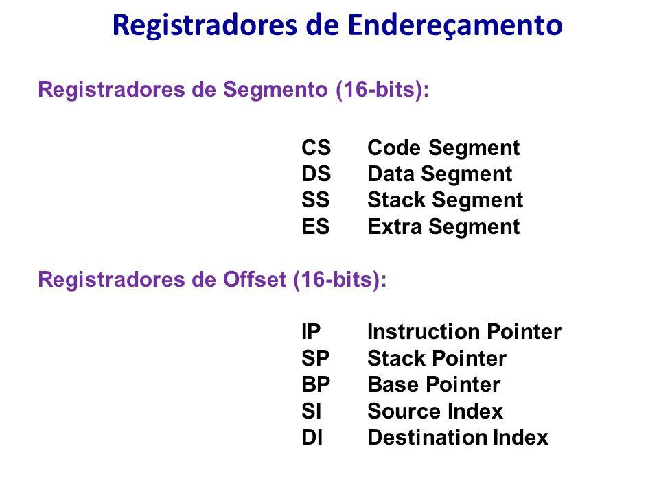 Registradores de Endereçamento Registradores de Segmento (16-bits): CS Code Segment DS Data Segment SS Stack Segment ES Extra Segment Registradores de Offset (16-bits): IPInstruction Pointer SP Stack Pointer BP Base Pointer SI Source Index DI Destination Index