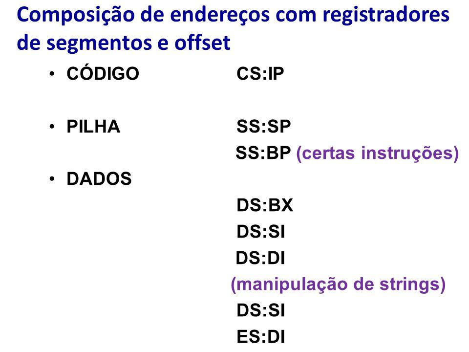 Composição de endereços com registradores de segmentos e offset CÓDIGOCS:IP PILHASS:SP SS:BP (certas instruções) DADOS DS:BX DS:SI DS:DI (manipulação de strings) DS:SI ES:DI