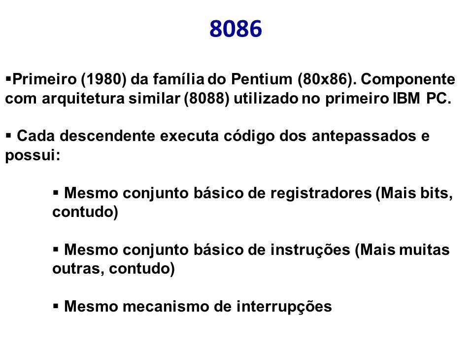 8086 Primeiro (1980) da família do Pentium (80x86). Componente com arquitetura similar (8088) utilizado no primeiro IBM PC. Cada descendente executa c