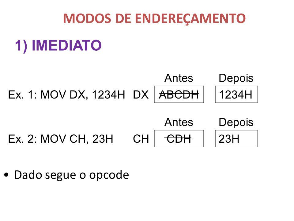 Dado segue o opcode 1) IMEDIATO AntesDepois Ex. 1: MOV DX, 1234HDXABCDH1234H AntesDepois Ex. 2: MOV CH, 23HCHCDH23H MODOS DE ENDEREÇAMENTO