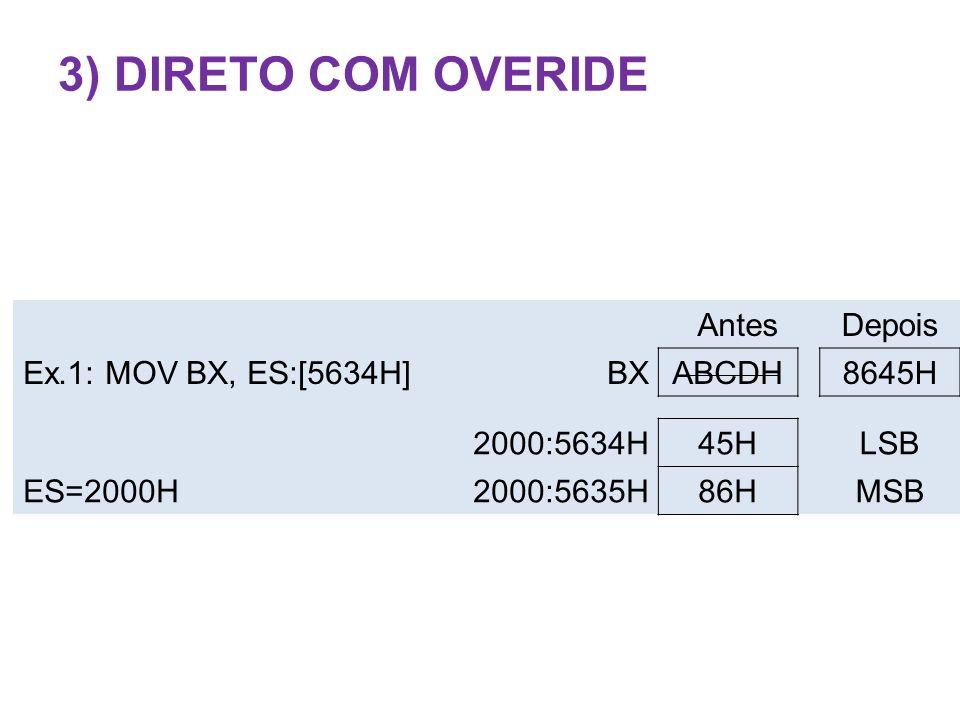 AntesDepois Ex.1: MOV BX, ES:[5634H]BXABCDH8645H 2000:5634H45HLSB ES=2000H2000:5635H86HMSB 3) DIRETO COM OVERIDE