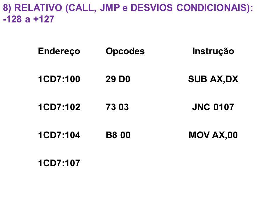 8) RELATIVO (CALL, JMP e DESVIOS CONDICIONAIS): -128 a +127 EndereçoOpcodesInstrução 1CD7:10029 D0SUB AX,DX 1CD7:10273 03JNC 0107 1CD7:104B8 00MOV AX,00 1CD7:107