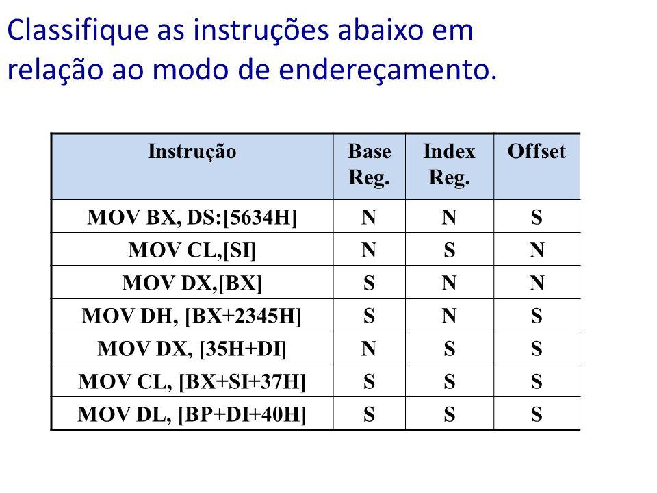 Classifique as instruções abaixo em relação ao modo de endereçamento. InstruçãoBase Reg. Index Reg. Offset MOV BX, DS:[5634H]NNS MOV CL,[SI]NSN MOV DX