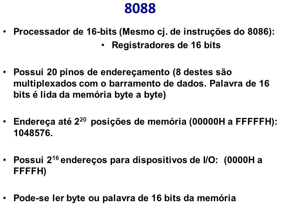 8088 Processador de 16-bits (Mesmo cj. de instruções do 8086): Registradores de 16 bits Possui 20 pinos de endereçamento (8 destes são multiplexados c