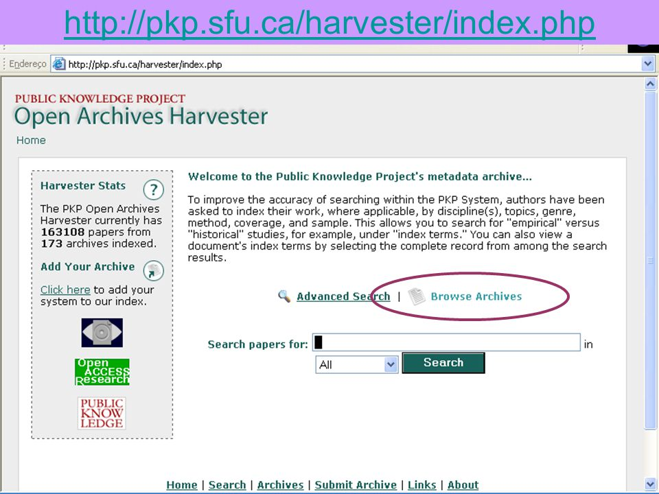 http://pkp.sfu.ca/harvester/index.php