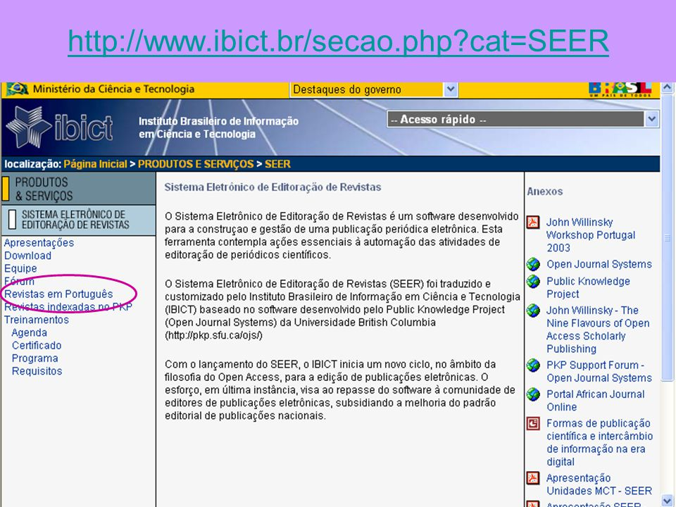 http://www.ibict.br/secao.php cat=SEER