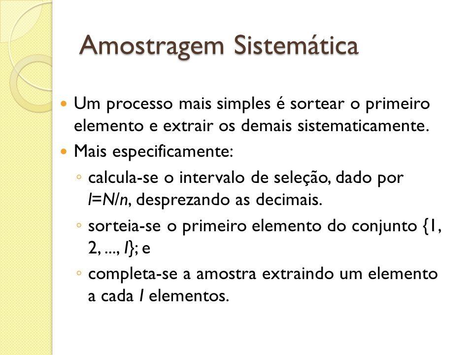Amostragem Sistemática Um processo mais simples é sortear o primeiro elemento e extrair os demais sistematicamente. Mais especificamente: calcula-se o