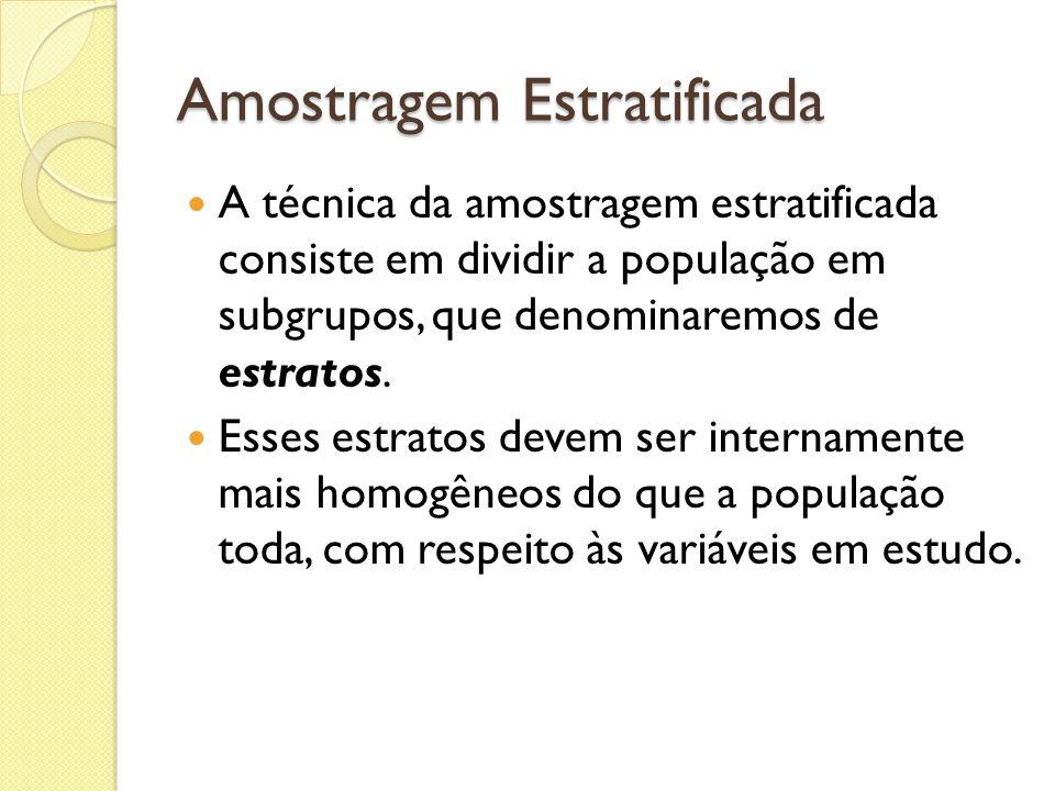 Amostragem Estratificada A técnica da amostragem estratificada consiste em dividir a população em subgrupos, que denominaremos de estratos. Esses estr