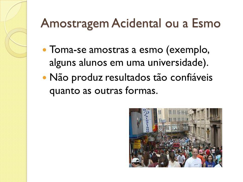Amostragem Acidental ou a Esmo Toma-se amostras a esmo (exemplo, alguns alunos em uma universidade). Não produz resultados tão confiáveis quanto as ou