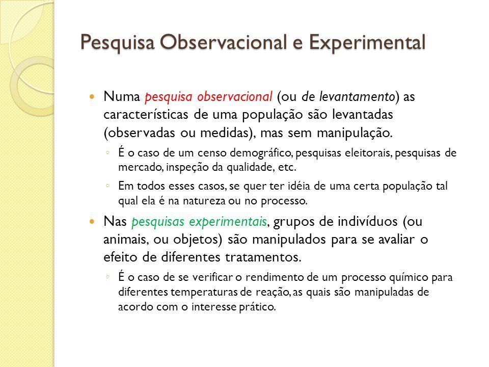 Pesquisa Observacional e Experimental Numa pesquisa observacional (ou de levantamento) as características de uma população são levantadas (observadas