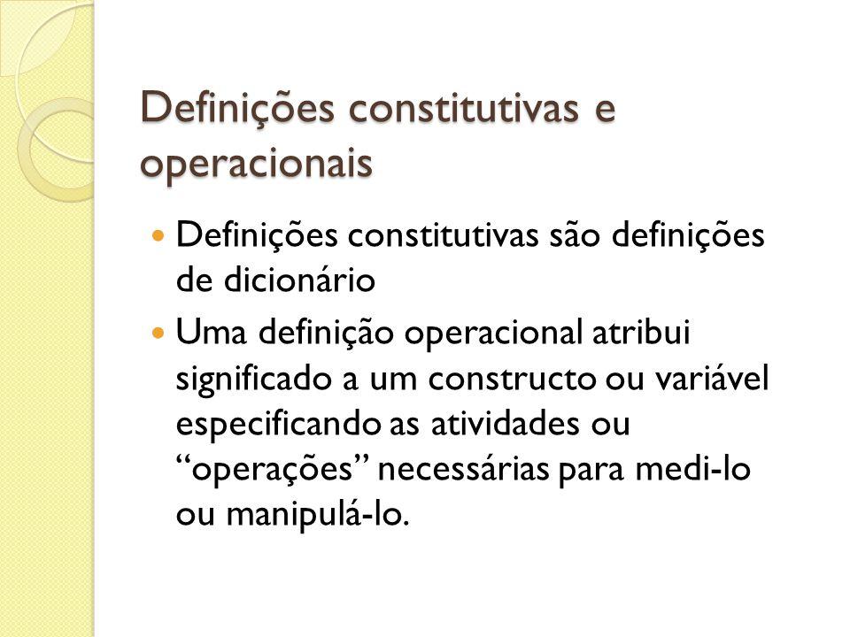 Definições constitutivas e operacionais Definições constitutivas são definições de dicionário Uma definição operacional atribui significado a um const