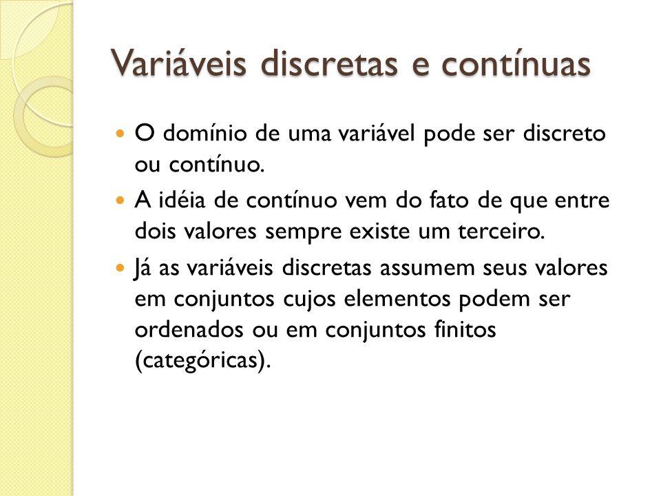 Variáveis discretas e contínuas O domínio de uma variável pode ser discreto ou contínuo. A idéia de contínuo vem do fato de que entre dois valores sem
